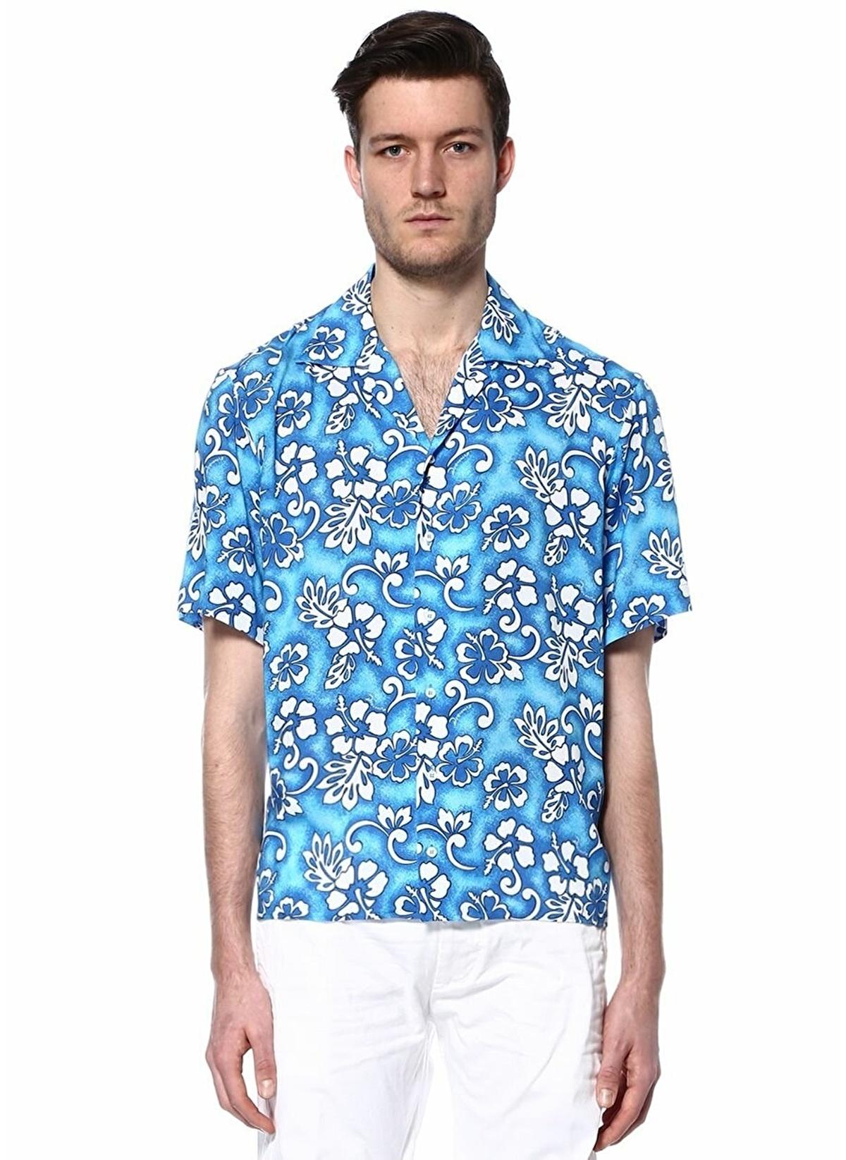 08235516c2c80 Dsquared2 Erkek Çiçek Desenli Kısa Kollu Gömlek Mavi-Beyaz   Morhipo ...